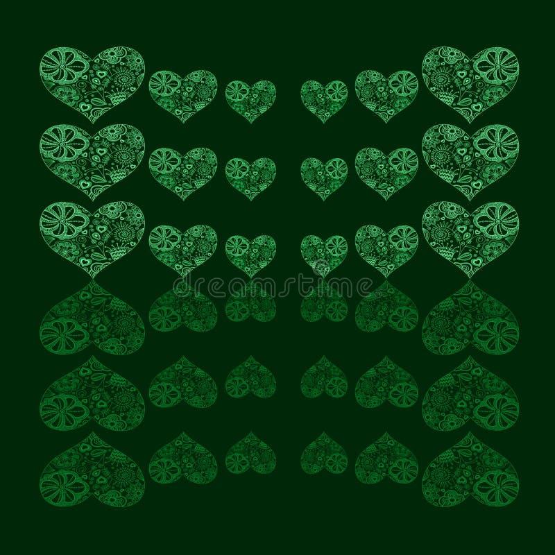 Priorità bassa floreale Heart-shaped astratta del reticolo illustrazione di stock