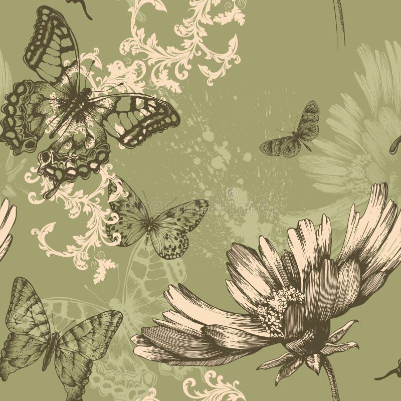 Priorità bassa floreale senza giunte con le farfalle di volo illustrazione vettoriale