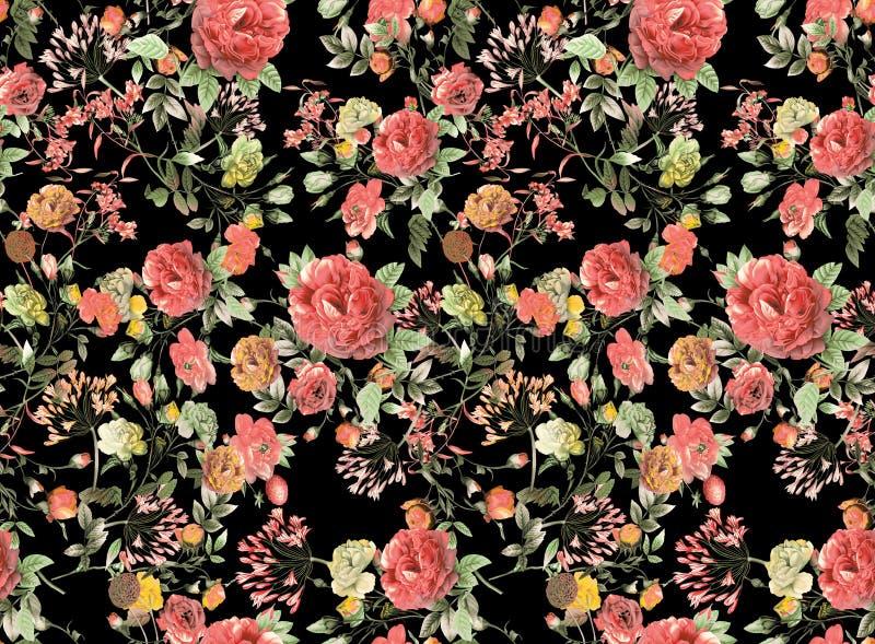 Priorità bassa floreale senza giunte Fondo variopinto tropicale del nero del modello di fiore dell'acquerello del modello illustrazione vettoriale