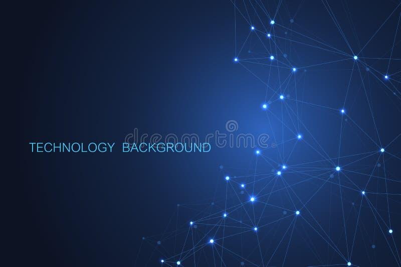 Priorità bassa futuristica astratta Tecnologia delle molecole con le forme poligonali su fondo blu scuro Tecnologia digitale illustrazione di stock