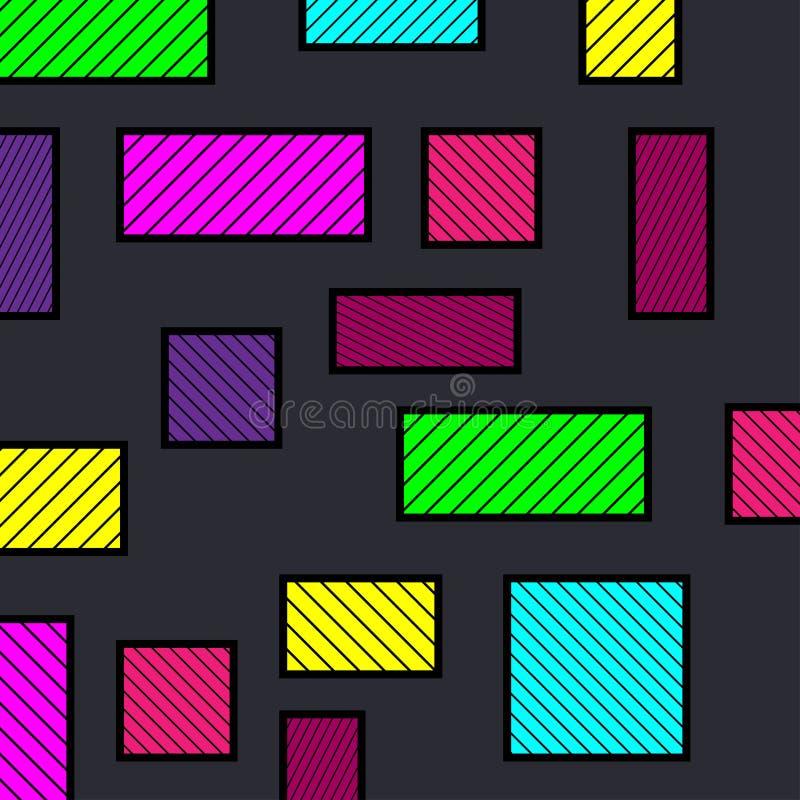 Priorità bassa geometrica astratta variopinta Quadrati variopinti con le righe Illustrazione astratta illustrazione vettoriale
