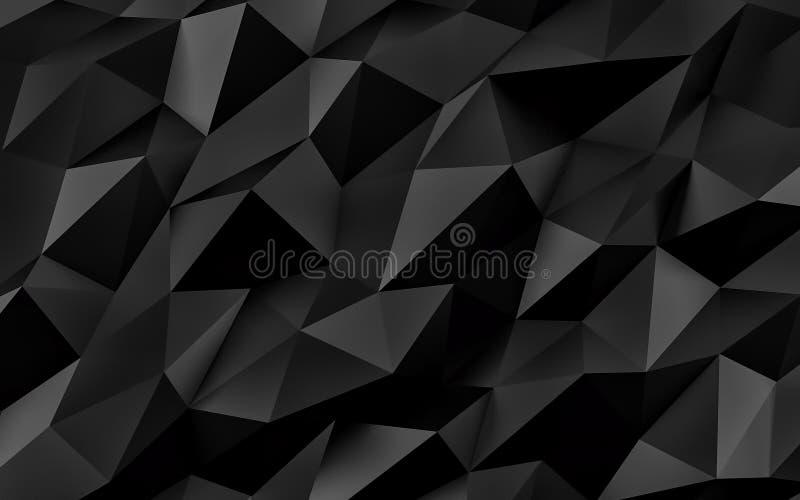 Priorità bassa geometrica nera astratta Struttura dell'oro con ombra 3d rendono royalty illustrazione gratis
