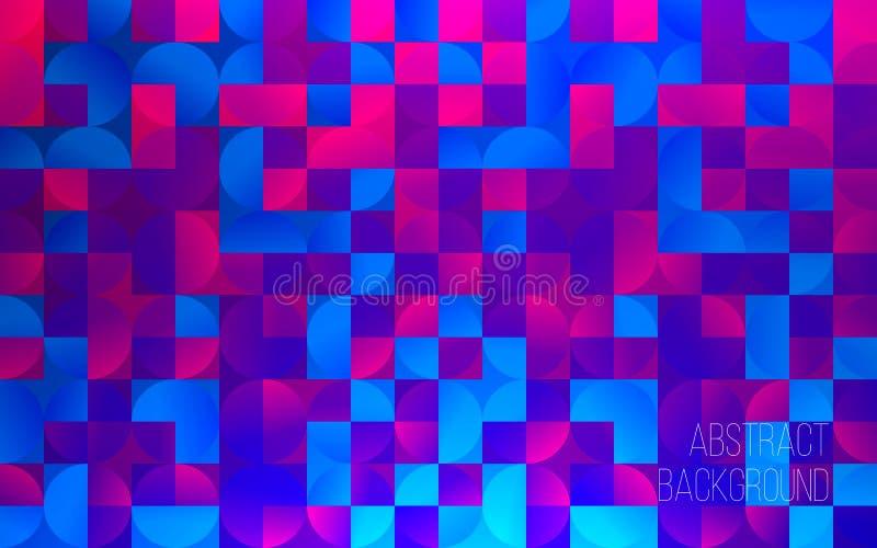 Priorità bassa geometrica variopinta astratta Contesto per progettazione Quadrati e cerchi colorati Illustrazione moderna di vett illustrazione vettoriale