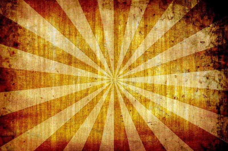 Priorità bassa gialla del grunge dell'annata con i raggi del sole illustrazione vettoriale