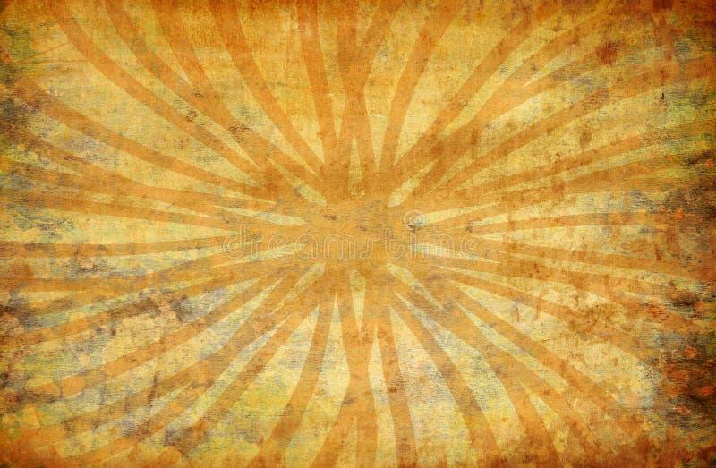 Priorità bassa gialla del grunge dell'annata con i raggi del sole royalty illustrazione gratis