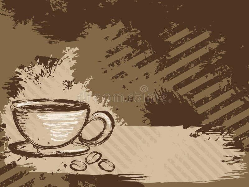 Priorità bassa grungy orizzontale del caffè illustrazione di stock