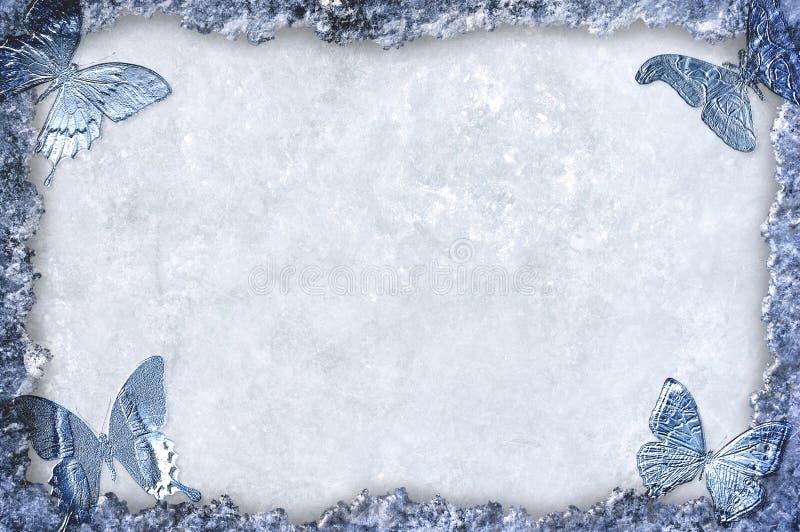 Priorità bassa incorniciata ghiaccio blu con le farfalle illustrazione di stock