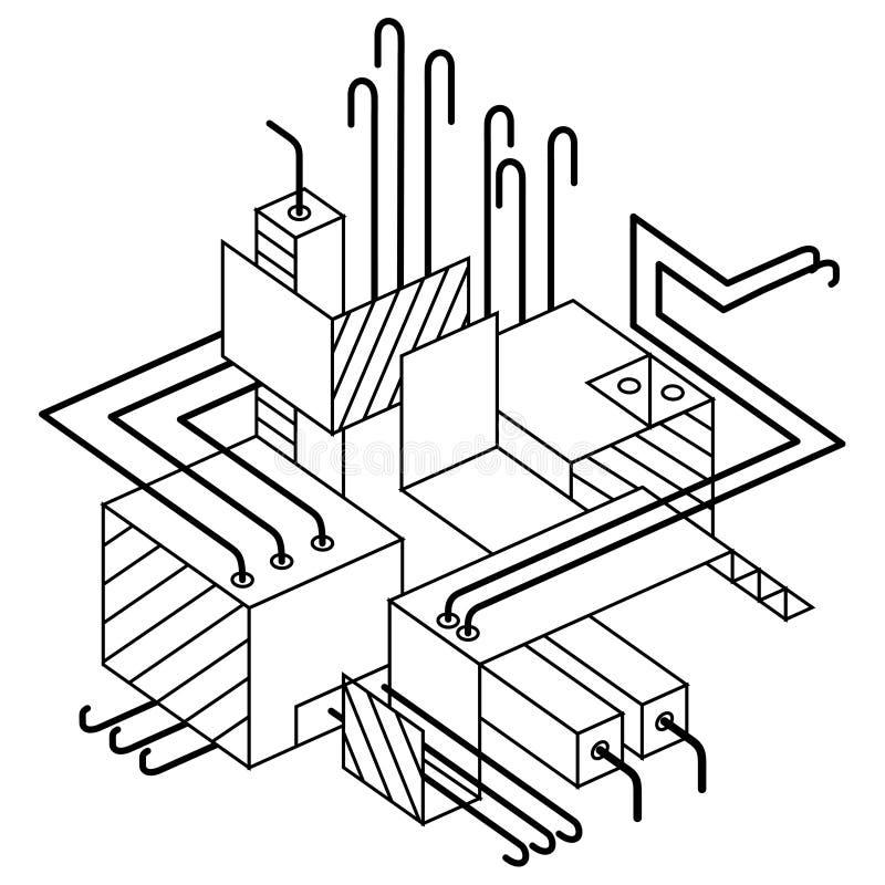 Priorità bassa industriale Composizione astratta con gli elementi isometrici, arte lineare con le linee e forme Cubi, quadrati, r illustrazione di stock