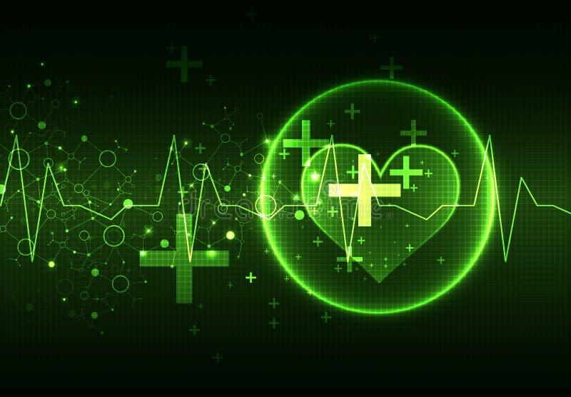 Priorità bassa medica astratta Tema del cardiogramma illustrazione di stock