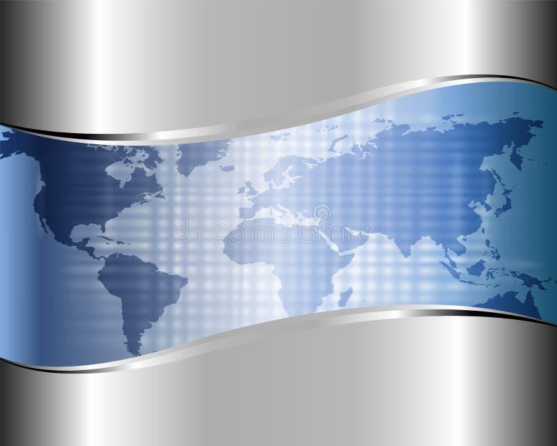 Priorità bassa metallica con un programma del mondo royalty illustrazione gratis