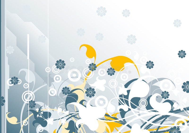 Priorità bassa moderna gorizontal astratta con gli elementi floreali, vect illustrazione vettoriale