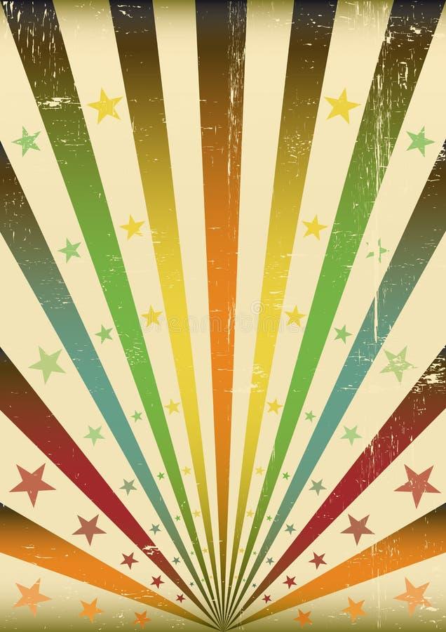 Priorità bassa multicolore del grunge dei raggi di sole illustrazione di stock
