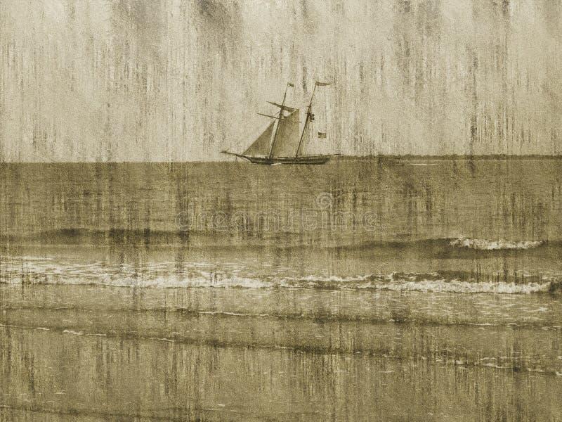 Priorità bassa/nave/oceano di Grunge illustrazione di stock