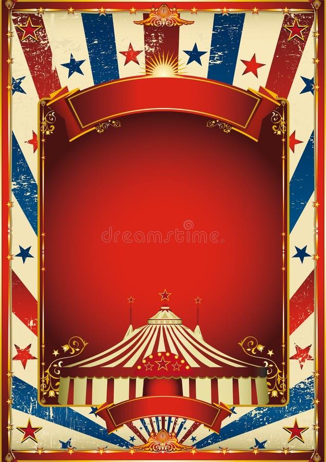 Priorità bassa piacevole del circo dell'annata con la grande parte superiore royalty illustrazione gratis