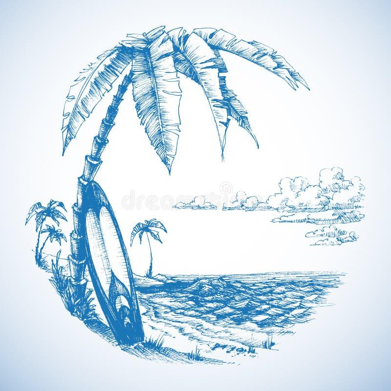 Priorità bassa praticante il surfing illustrazione vettoriale