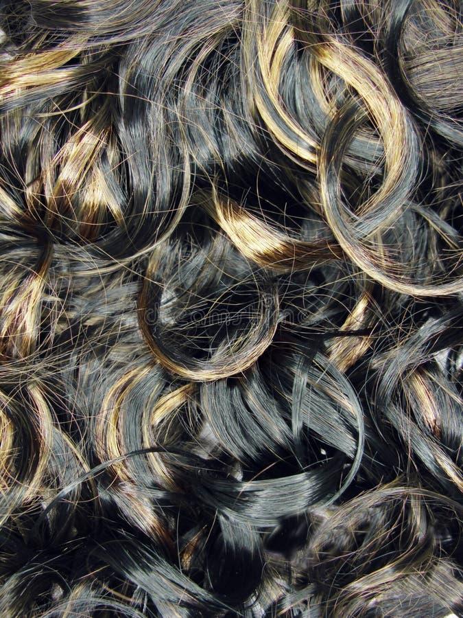 Priorità bassa riccia di struttura dei capelli di punto culminante immagini stock