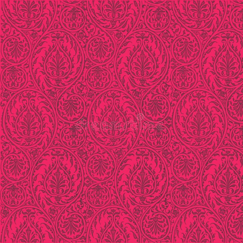 Priorità bassa ripetibile di colore rosa caldo del reticolo di Paisley illustrazione vettoriale
