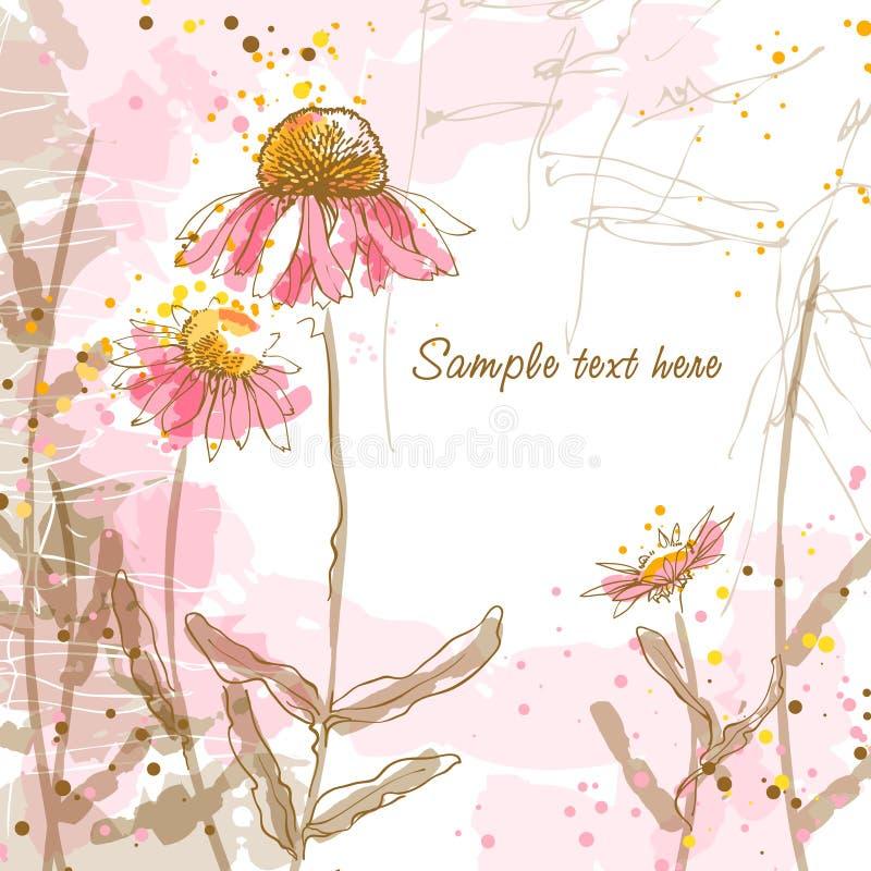 Priorità bassa romantica con i echinaceas illustrazione di stock