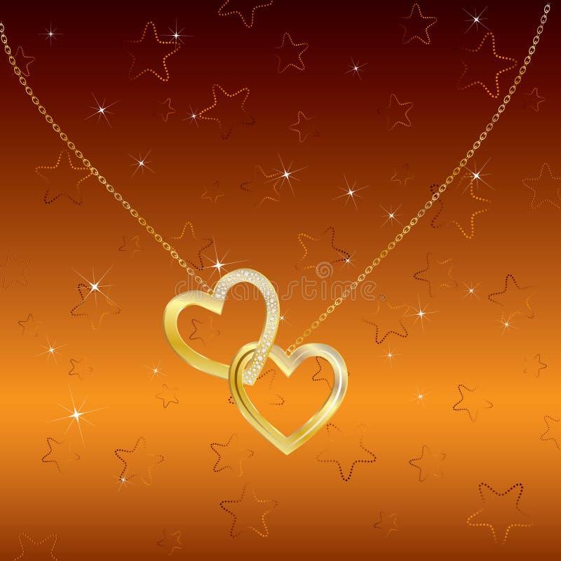 Priorità bassa romantica luminosa con due cuori dorati. illustrazione vettoriale