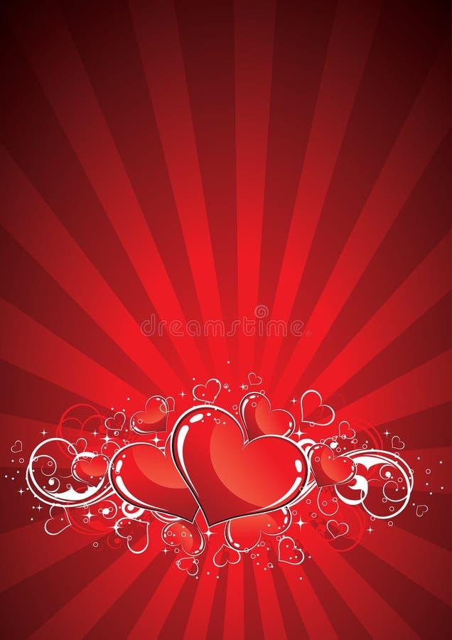 Priorità bassa rossa dei biglietti di S. Valentino royalty illustrazione gratis
