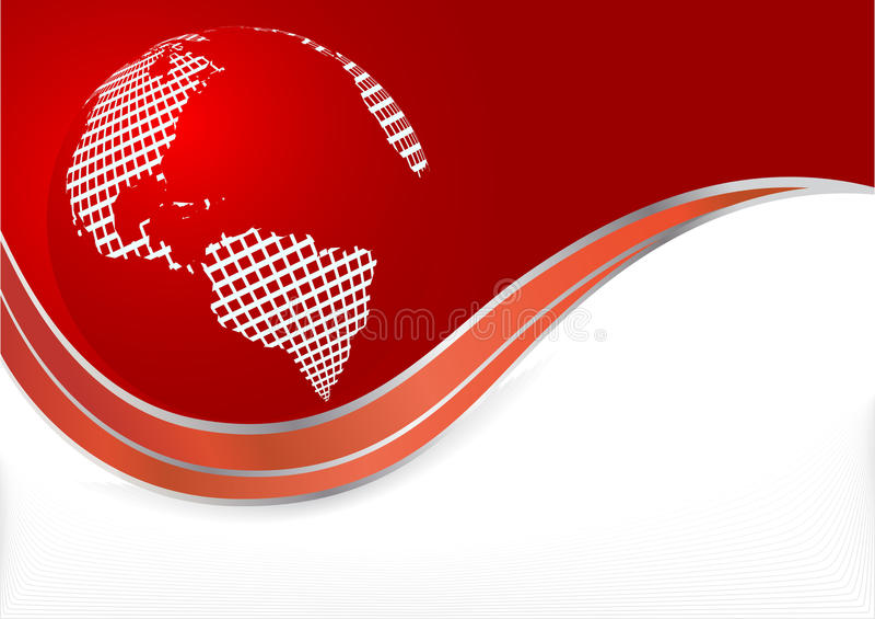 Priorità bassa rossa di vettore con il globo illustrazione di stock