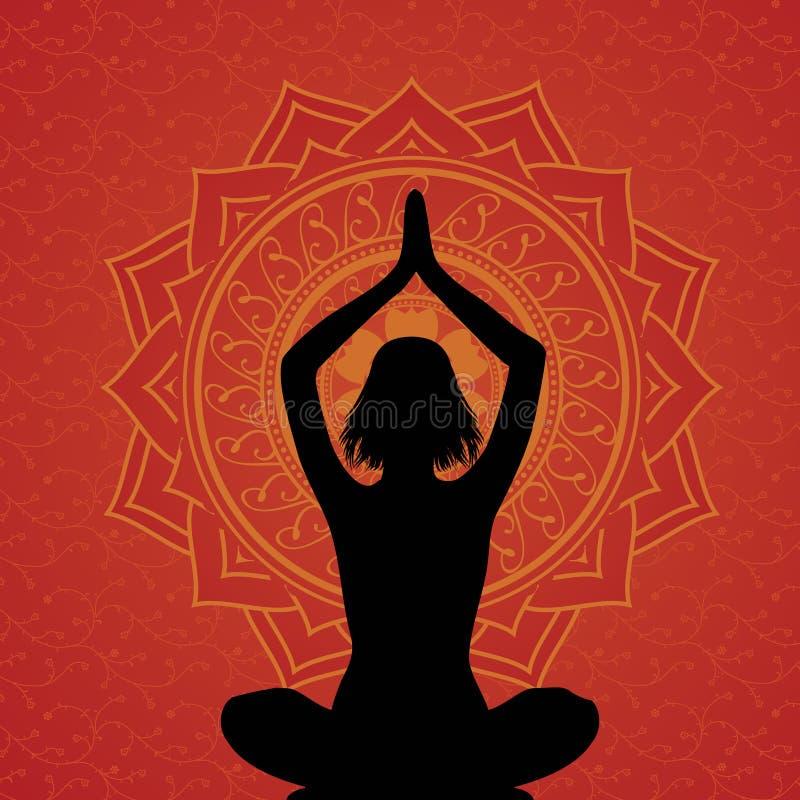Priorità bassa rossa di yoga royalty illustrazione gratis