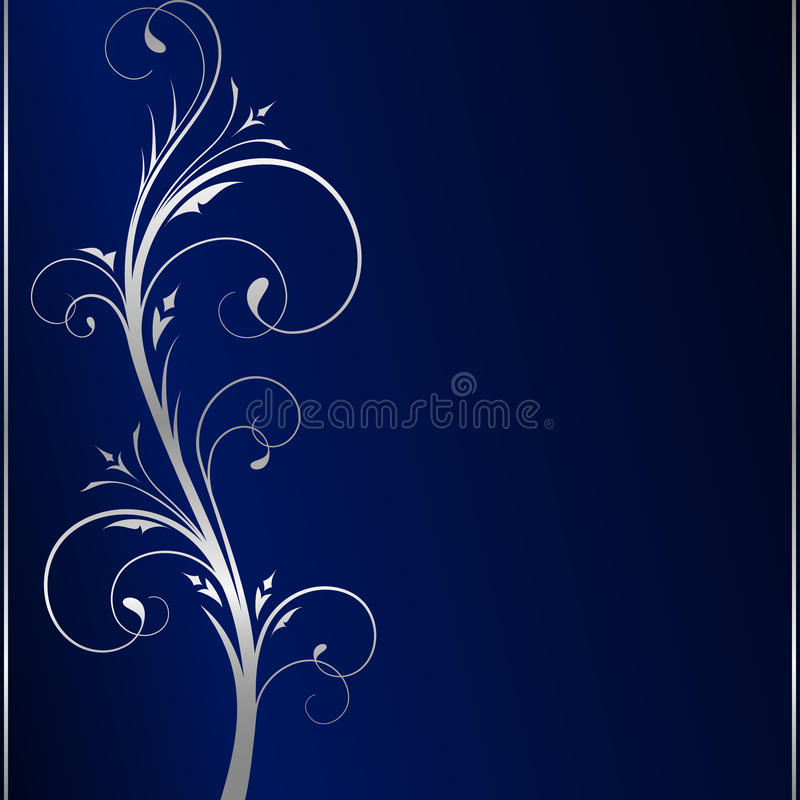 Priorità bassa scura elegante & rotoli floreali d'argento illustrazione di stock