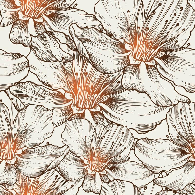 Priorità bassa senza giunte affascinante con il fiore di fioritura illustrazione vettoriale