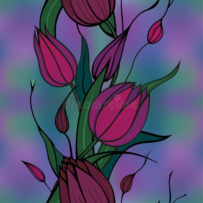 Priorità bassa senza giunte con i fiori del claret royalty illustrazione gratis