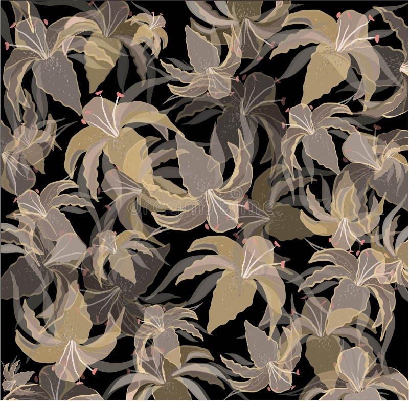 Priorità bassa senza giunte con l'immagine del lilie del giardino illustrazione vettoriale