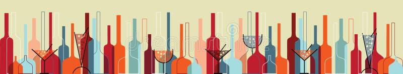 Priorità bassa senza giunte con le bottiglie ed i vetri di vino illustrazione vettoriale