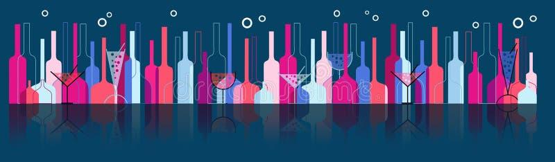 Priorità bassa senza giunte con le bottiglie ed i vetri di vino royalty illustrazione gratis