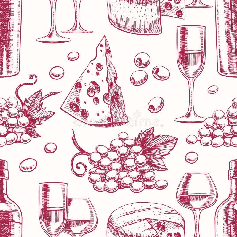 Priorità bassa senza giunte con vino illustrazione vettoriale