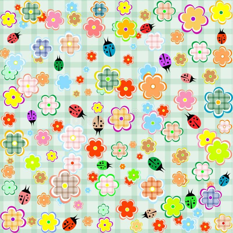 Priorità bassa senza giunte del reticolo dei ladybugs e dei fiori royalty illustrazione gratis