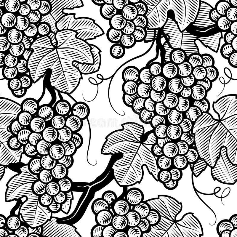 Priorità bassa senza giunte dell'uva in bianco e nero illustrazione di stock