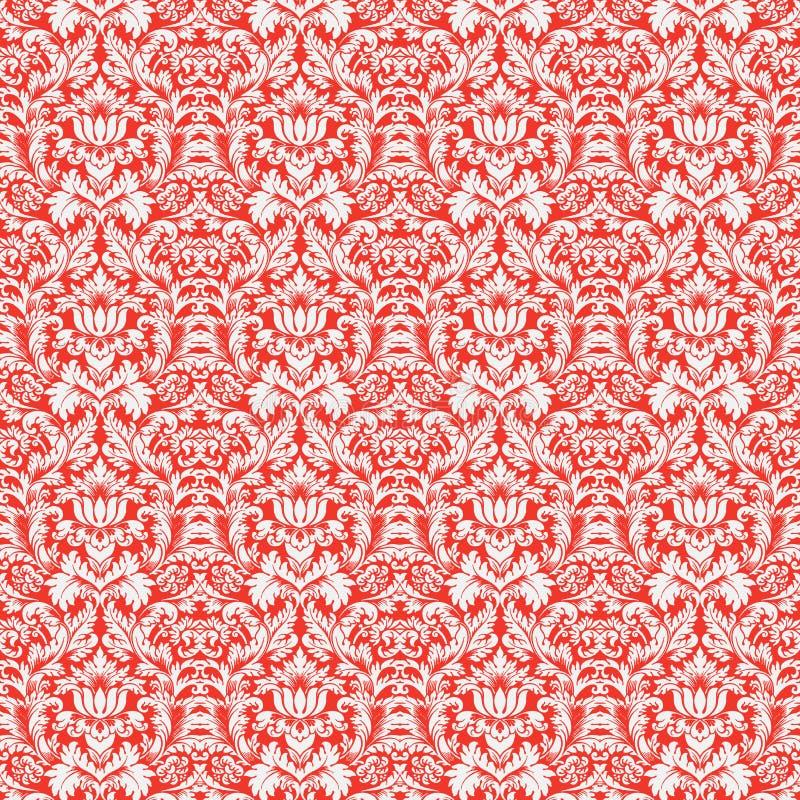 Priorità bassa senza giunte di natale del reticolo rosso del damasco illustrazione vettoriale
