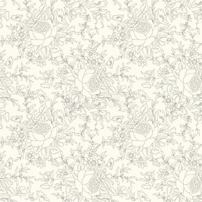 Priorità bassa senza giunte floreale Reticolo di fiore Il Flourish ha piastrellato lo sprin royalty illustrazione gratis