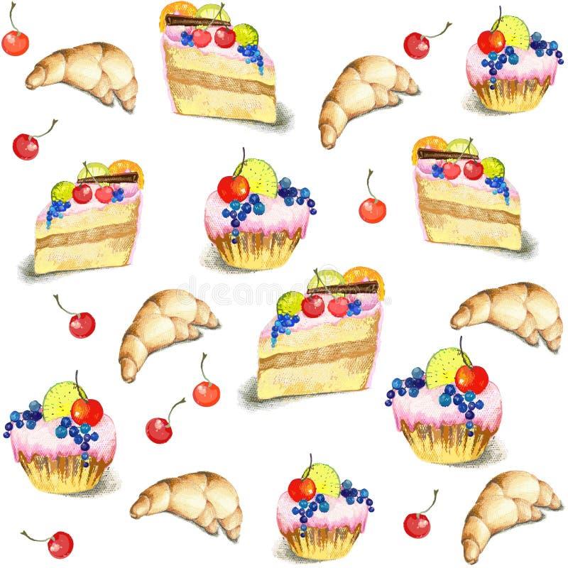 Priorità bassa senza giunte. Illustrazioni della torta. illustrazione di stock