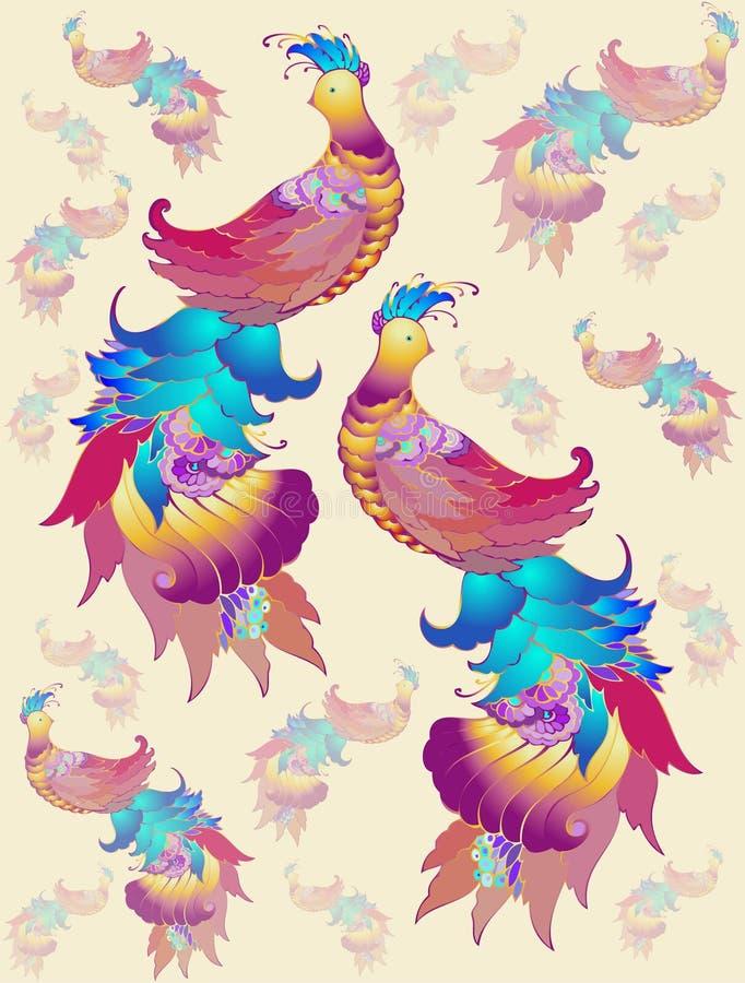 Priorità bassa senza giunte. Uccelli dell'illustrazione. royalty illustrazione gratis