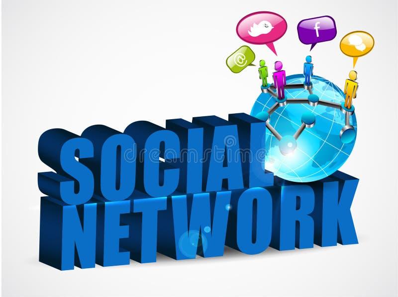 priorità bassa sociale della rete 3D con testo, illustrazione vettoriale