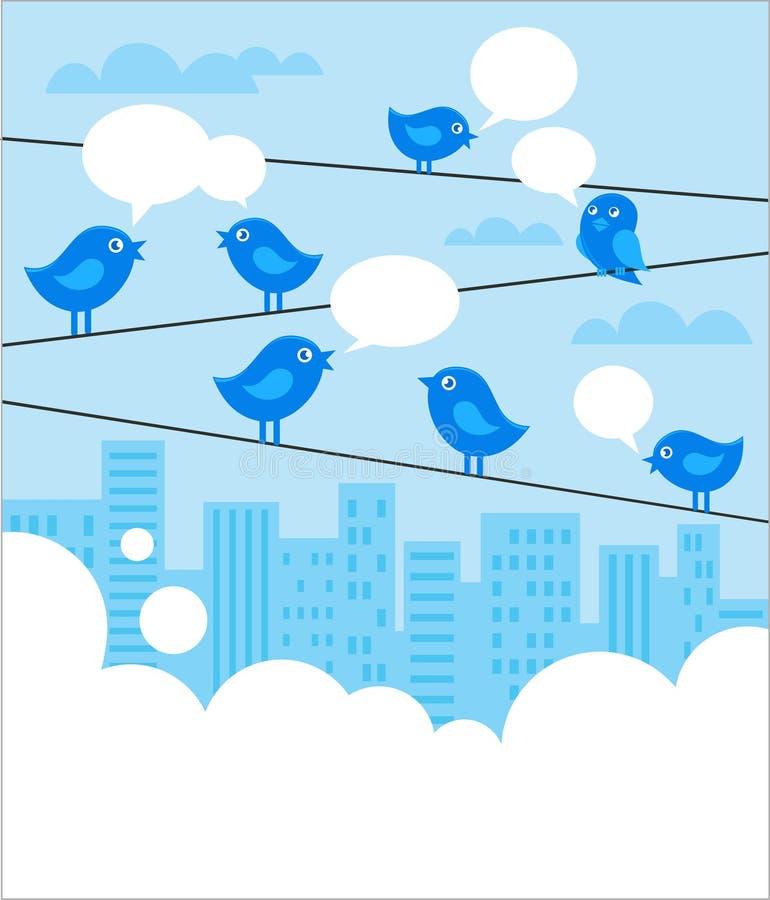 Priorità bassa sociale della rete con gli uccelli blu illustrazione di stock