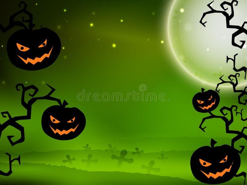 Priorità bassa spaventosa di notte di Halloween. illustrazione vettoriale