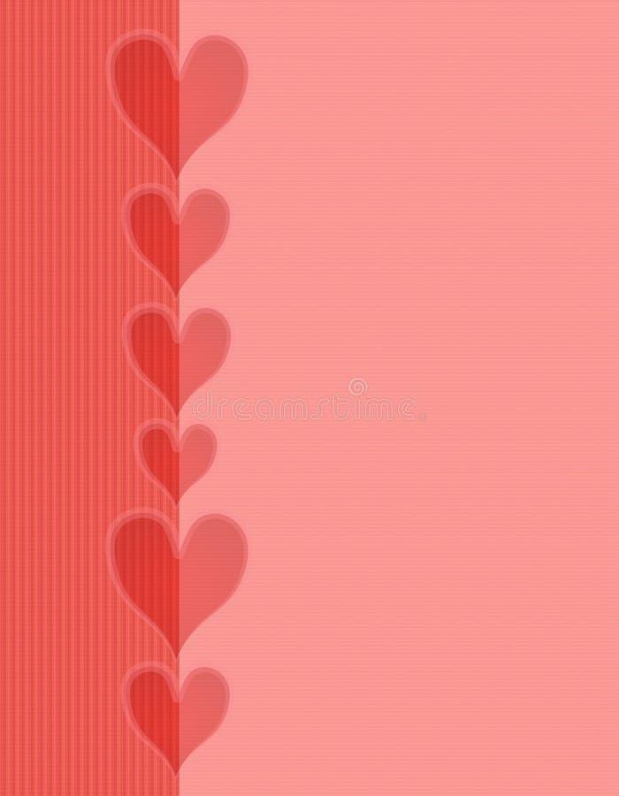 Priorità bassa a strisce del bordo dei cuori rosa-rosso illustrazione vettoriale