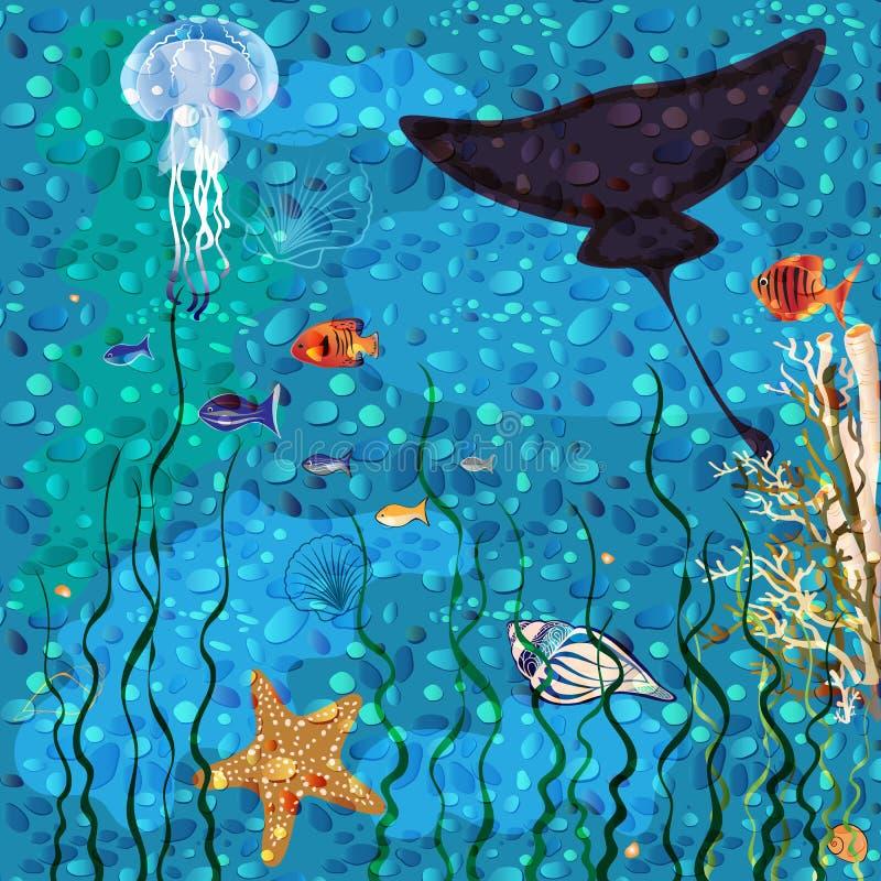 Priorità bassa subacquea del mondo illustrazione di stock
