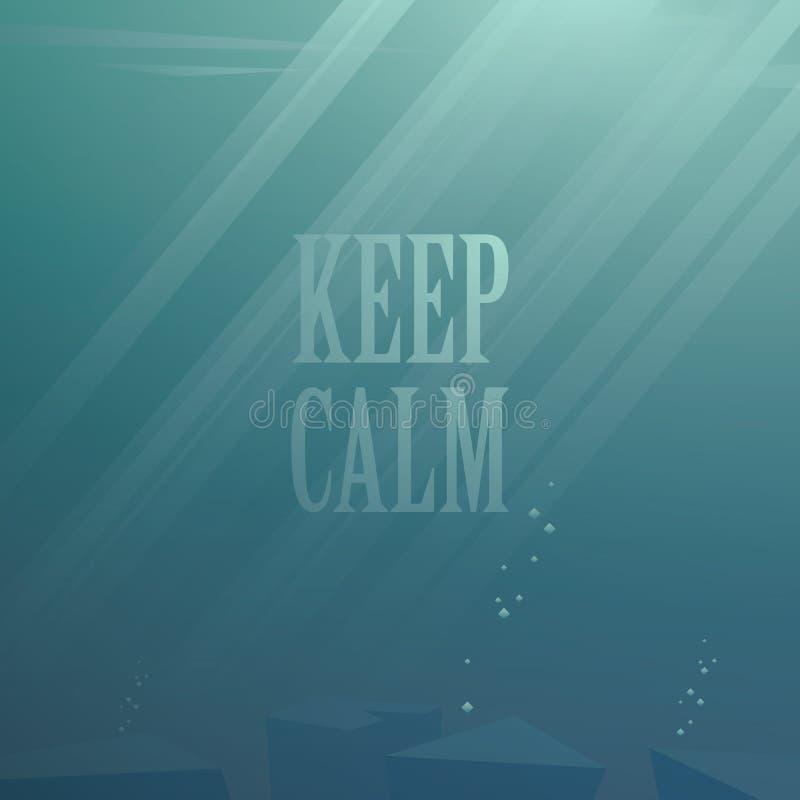 Priorità bassa subacquea di vettore Tenga la calma illustrazione vettoriale