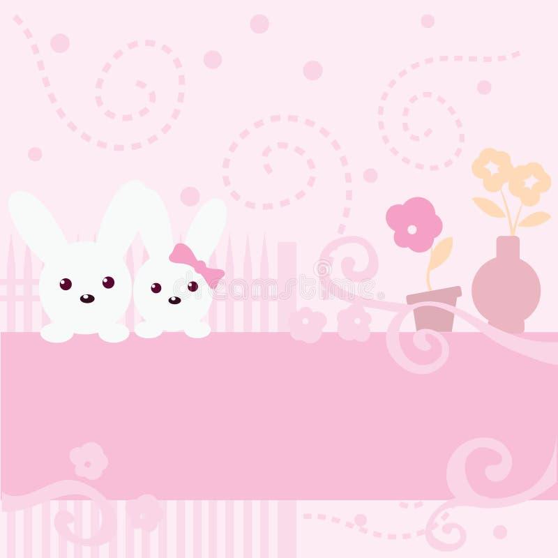 Priorità bassa sveglia di colore rosa del coniglietto royalty illustrazione gratis