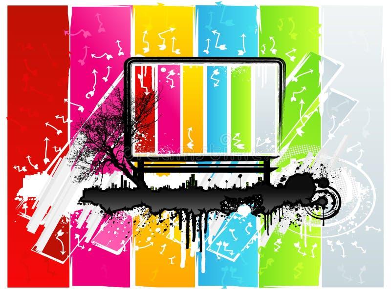 Priorità bassa urbana del tabellone per le affissioni del Rainbow illustrazione di stock