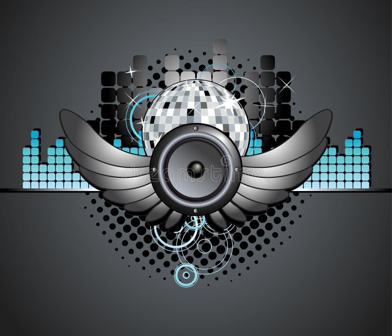 Priorità bassa urbana dell'altoparlante della sfera della discoteca di musica illustrazione vettoriale