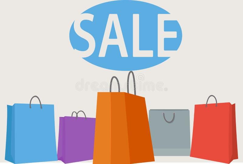 Priorità bassa variopinta dei sacchetti di acquisto illustrazione di stock