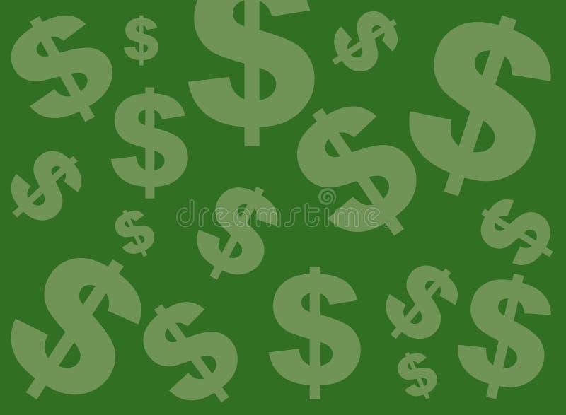 Priorità bassa verde del segno del dollaro illustrazione di stock